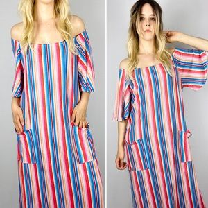 1970s striped beach dress / bathing suit coverup